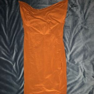 Burnt Orange Silk Jersey Material Ruched Low Back